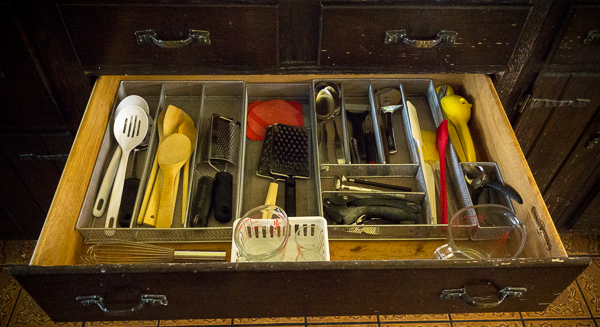 organized kitchen tools drawer