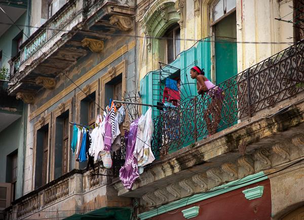 Women on balcony, Havana, Cuba