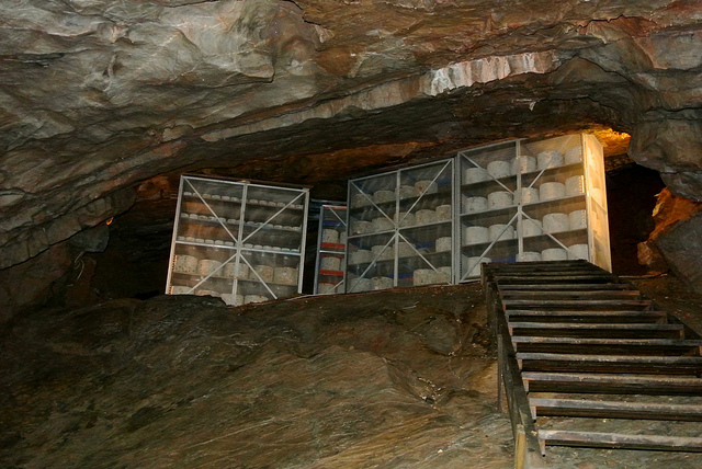 Racks of cheese in a cave