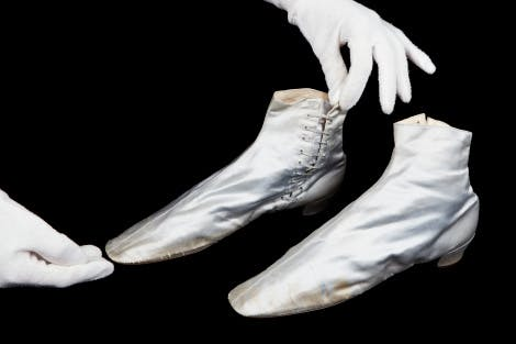 Silver boots worn by Queen Victoria