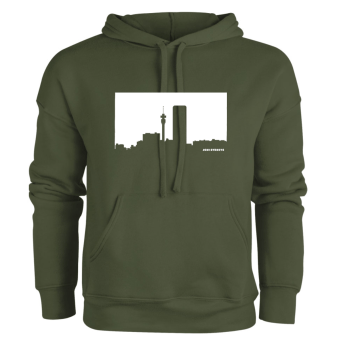 Jozi Streets Olive Hoodie White Skyline