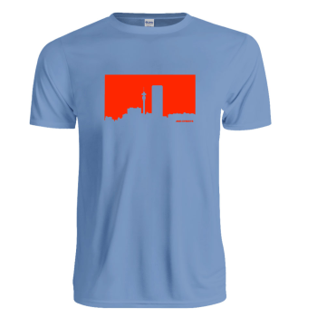 Jozi Streets Sky Blue T-Shirt - Neon Red