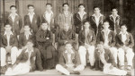 St. Joseph's College team - 1945 (First row from left) O Perera, S Sarathchandra, M kodikara (Seated from left) C de Mel, m de Costa (captain), Fr. j. Nanayakkara O.M.I (Prefect of Games), Rev. Fr. Peter A. Pillai (Rector), S. Fernando (Coach), F. Matthysz, A. Hazari (Standing from left) N Perera, J de Mel, H Bagot, J Bagot, V Sinnetamby, T Wickramasinghe