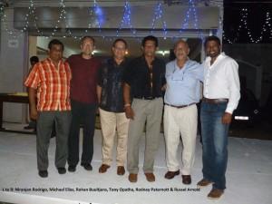 L to R: Niranjan Rodrigo, Michael Elias, Rohan Buultjens, Tony Opatha, Rodney Paternott & Russel Arnold