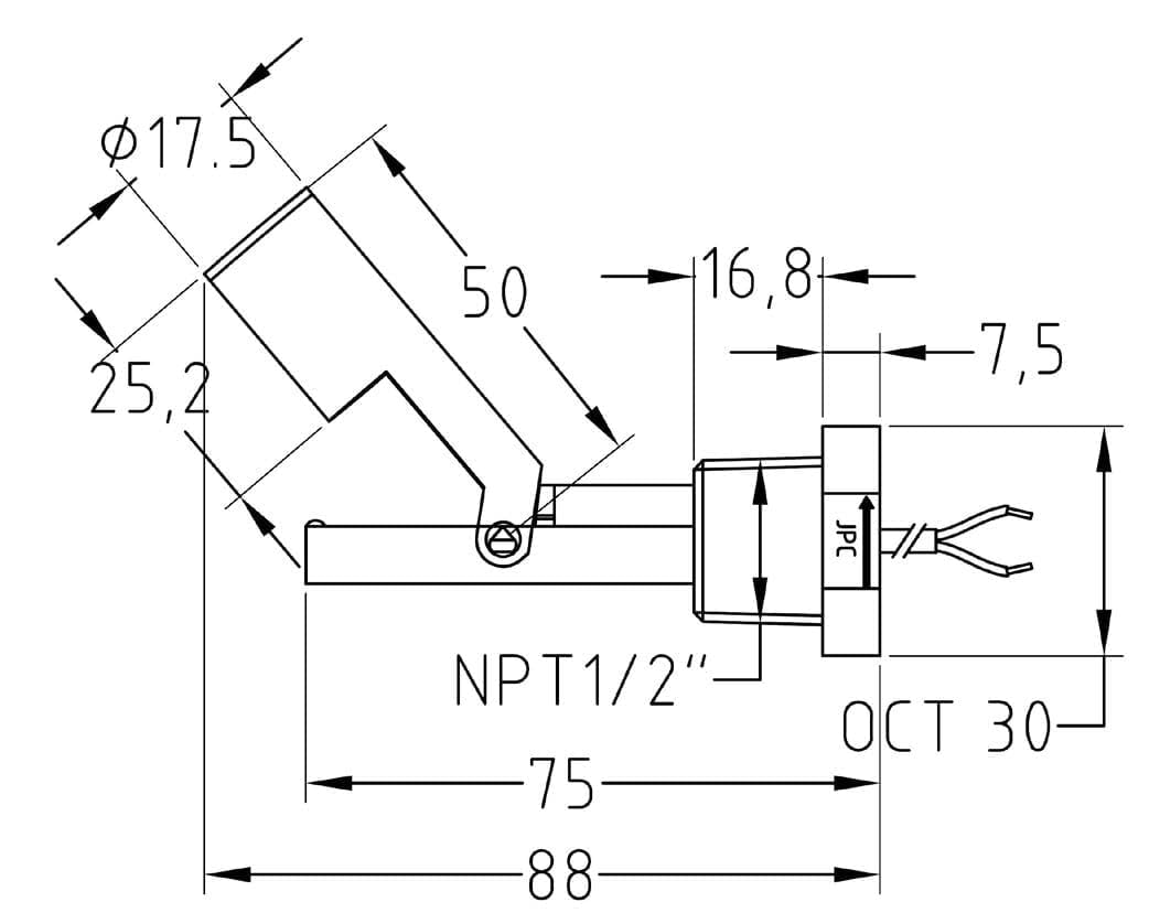 Horizontal Mounting Reed Switch Contact Pbt Stem Hollow