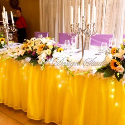 Сватбена украса в Хотел Света Екатерина, Рибарица. Декорация в жълто и лавандула.