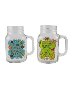 Drinking Jar Set - 2 20 Ounce Jars - Glory & Amazing Grace Front
