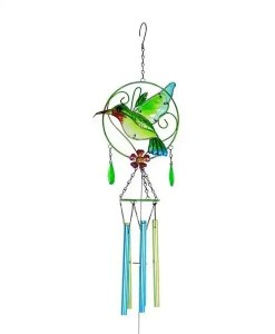 Fused Glass Hummingbird Wind Chime