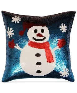 Snowman Sequin Decorative Pillow - Blue