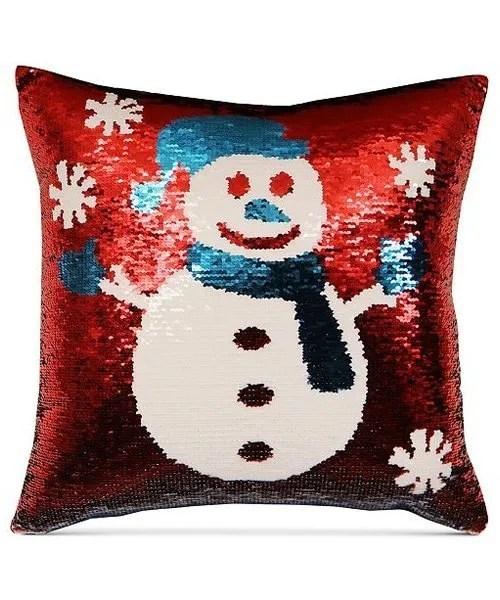 Snowman Sequin Decorative Pillow - Red