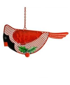 Winter Cardinal Wire Mesh Bird Feeder CloseWinter Cardinal Wire Mesh Bird Feeder Close