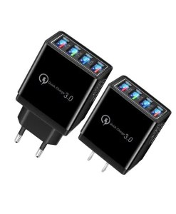 4 Port Quick Charger QC 3.0 USB Hub Wall Charger 3.5A Power Adapter - US and EU Black