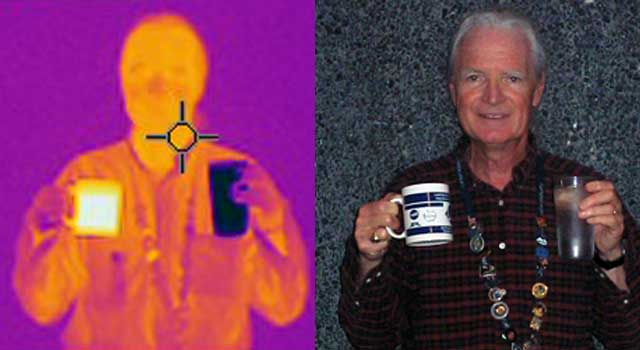 Left: Thermal Imaging / Right: Visible Light