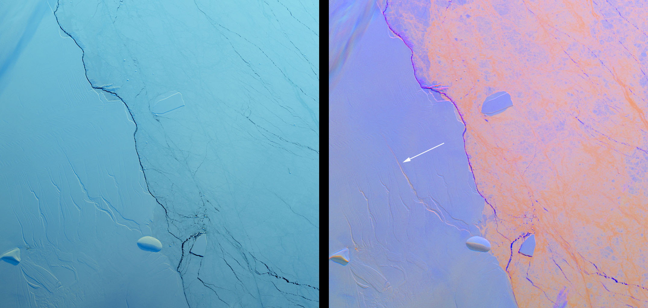 Growing Crack in Antarctica's Larsen C Ice Shelf Spotted by NASA's MISR Image credit: NASA/GSFC/LaRC/JPL, MISR Team