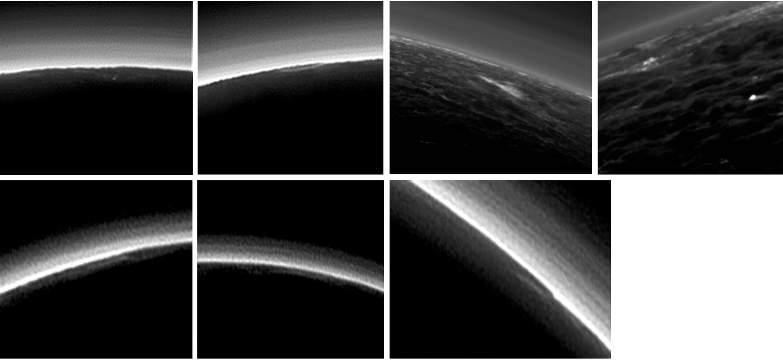 Atmósfera nebulosa y estratificada de Plutón registrada por la New Horions por las cámaras Long Range Reconnaissance Imager y Multispectral Visible Imaging Camera durante el sobrevuelo en Julio de 2015.