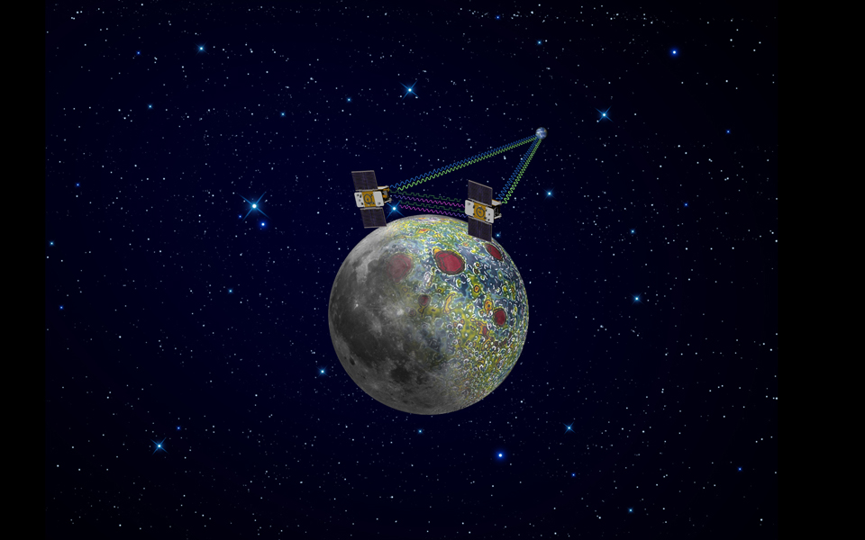 Using a precision formation-flying technique, the twin GRAIL spacecraft will map the moon's gravity field, as depicted in this artist's rendering.