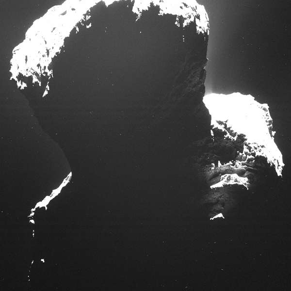 Image of the southern polar regions of comet 67P/Churyumov-Gerasimenkotaken was taken by Rosetta's Optical, Spectroscopic, and Infrared Remote Imaging System (OSIRIS) on September 29, 2014, when the comet was still experiencing the long southern winter.
