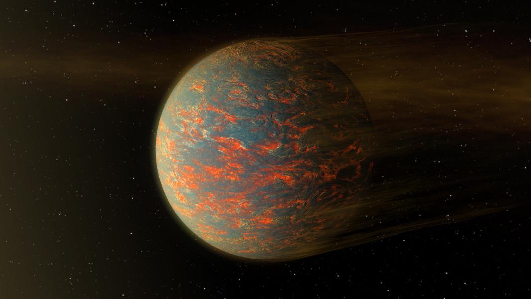 Esta ilustración muestra una posible imagen del caliente exoplaneta rocoso llamado 55 Cancri e que es casi dos veces mayor que la Tierra. Crédito: NASA / JPL-Caltech.