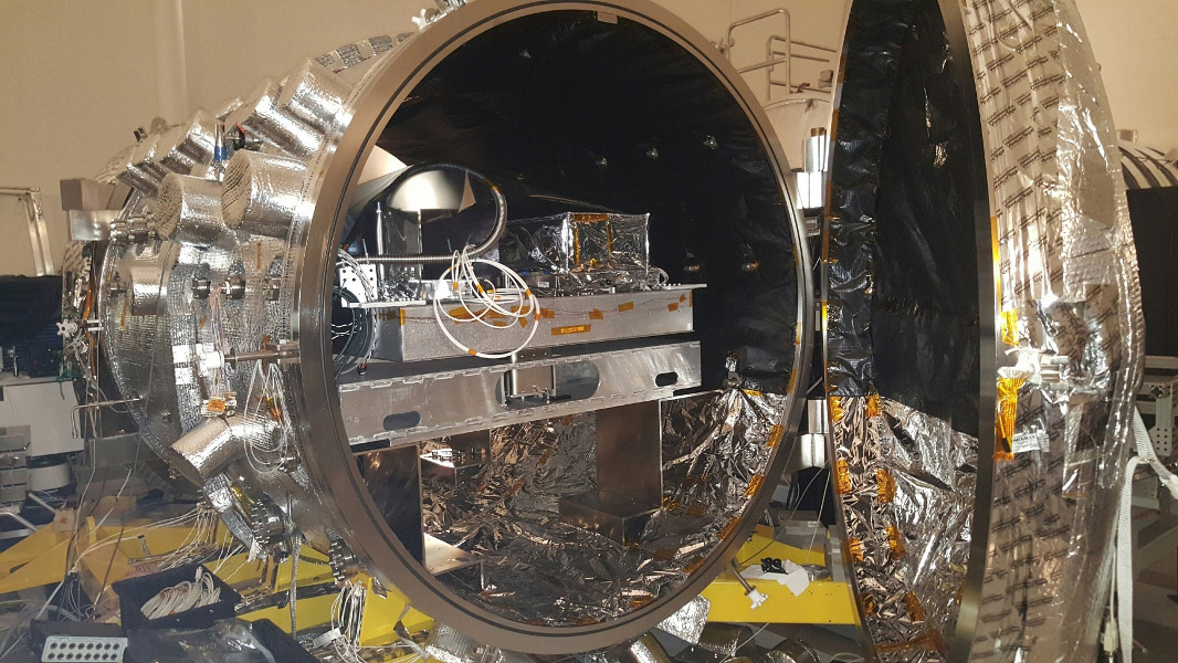 The vacuum chamber at NASA's Jet Propulsion Laboratory in Pasadena, California, used for testing WFIRST and other coronagraphs. A star is simulated inside the chamber using light brought in by an optical fiber, and the light of this