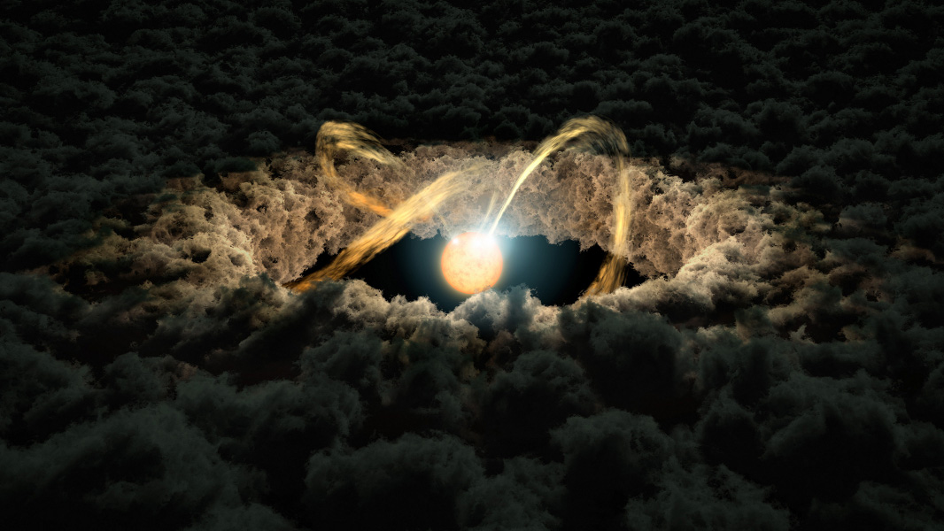 This illustration shows a star surrounded by a protoplanetary disk. Material from the thick disk flows along the star's magnetic field lines and is deposited onto the star' surface. When material hits the star, it lights up brightly.