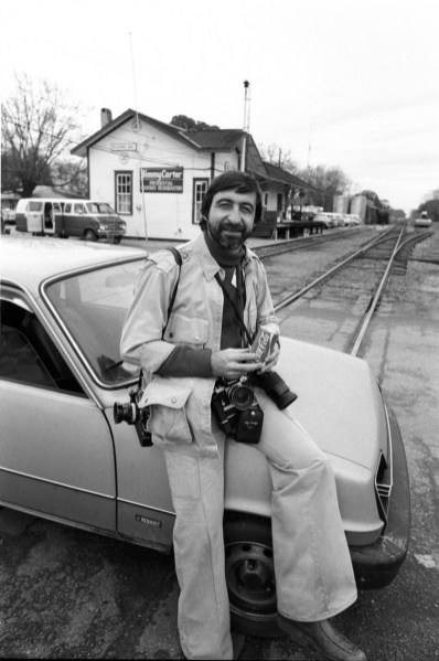 November 1976, in Plains, Georgia. JP Laffont spent one month in Plains, Georgia to illustrate the place where the president Jimmy Carter came from. Here, photograph in front of Jimmy Carter presidential campaign headquarter with his car: Renault 5.