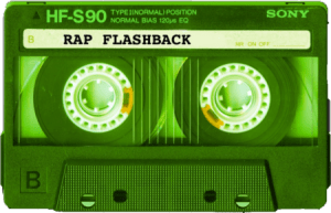 green cassette tape rap flashback
