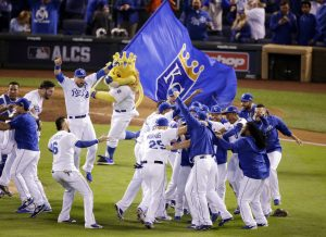 Kansas City Royals celebrates their 4-3 win against the Toronto Blue Jays in Game 6 of baseball's American League Championship Series on Friday, Oct. 23, 2015, in Kansas City, Mo. (AP Photo/Jae C. Hong)