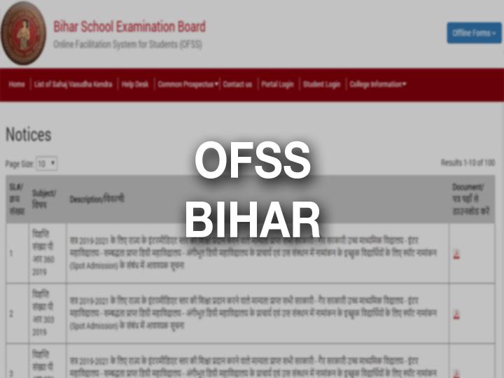 OFSS Bihar (www.ofssbihar.in) Graduation Apply Online OFFS