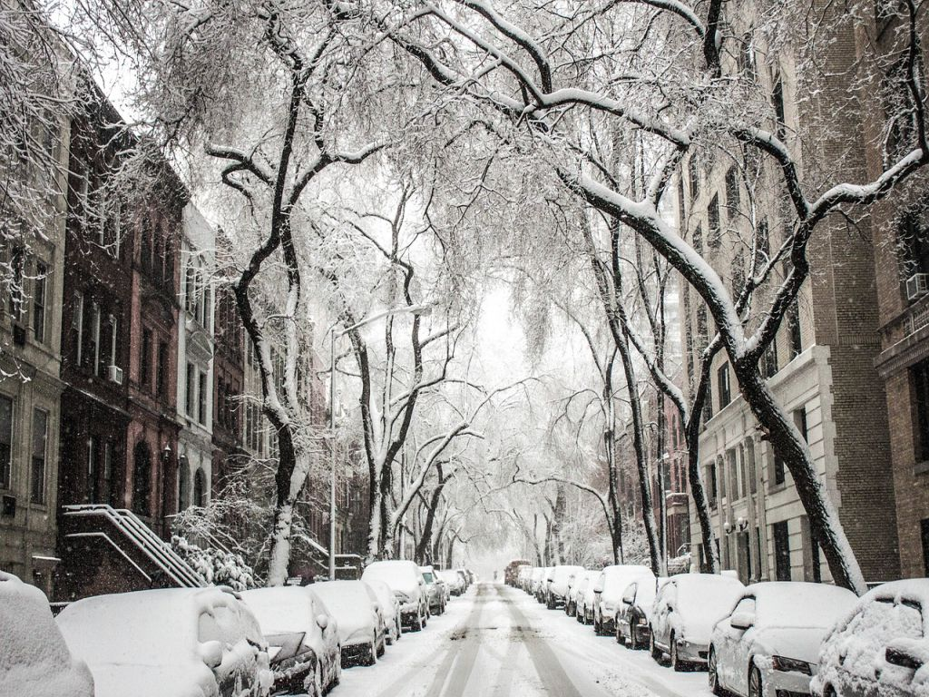 A snowed-in street in Brooklyn during the winter.