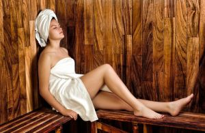 Girl wrapped in towels enjoying a spa