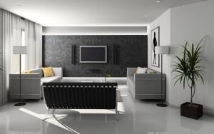 White living room with one black wall.