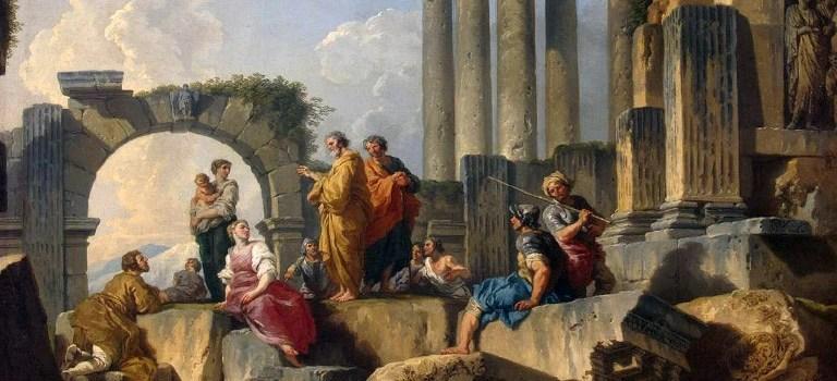 Ruinas con el Apóstol Pablo predicando