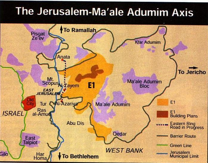Mapa circundante de la zona E1 donde se muestran Jerusalen y el asentamiento de Ma'ale Adumim