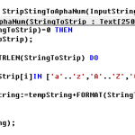 Strip String to AlphaNumeric CAL