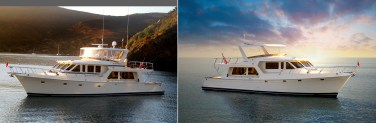62' Yacht: Re-design upper decks, remove distracting gold shines on hull, new environment.