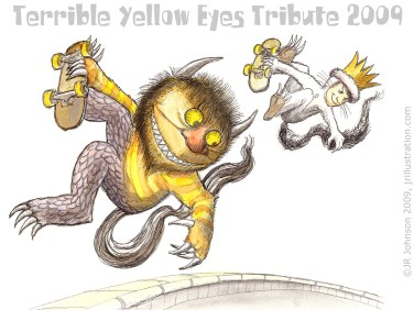 "Pencil and watercolor trubute art for the ""Terrible Yellow Eyes"" project, 2009, with thanks to Maurice Sendak, author of ""Where The Wild Things Are""."