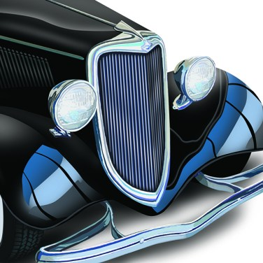 Digital airbrush rendering for an automotive service brochure cover.