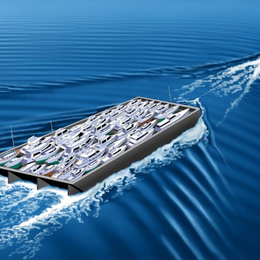 Digital Airbrush rendering of the boat barge concept for easy return of mariner's pleasure craft against prevailing current.