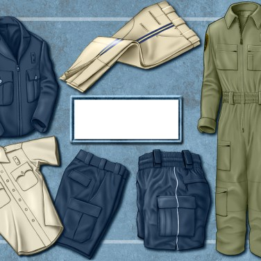Pencil and digital renderings of clothing for a uniform garment ad, and layout.