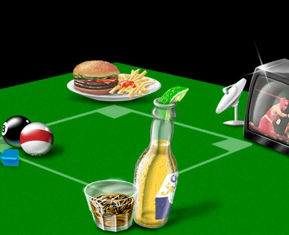 Digital rendering of the owner's ad concept promoting some of the activities offered at a tavern.