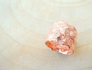 bague écorce en argent 925 doré à l'or rose et diamant