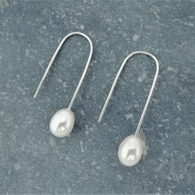 boucles d'oreilles en argent 925 et perles d'eau douce