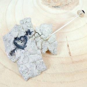 broche coeur gravé avec épingle en argent 925