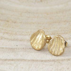 petites boucles d'oreilles Golden Leaves en argent 925 plaqué or