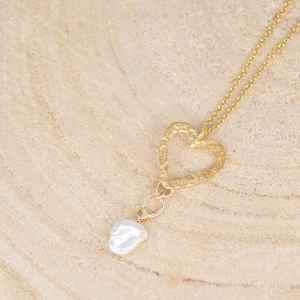 collier avec pendentif Little Heart en argent 925 plaqué or et perle de Keshi