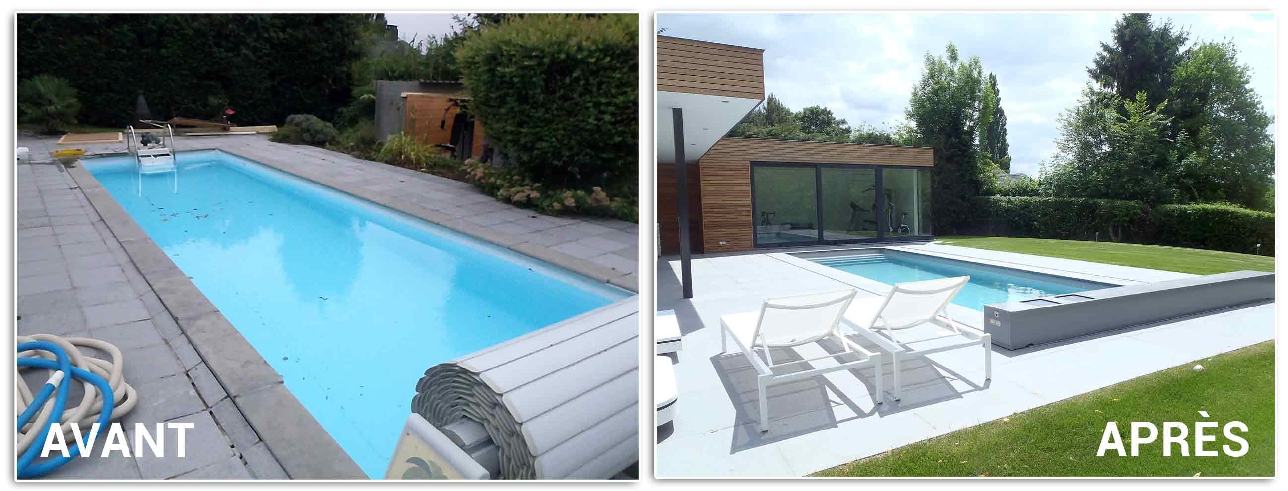 Rénovation de piscine : avant - après