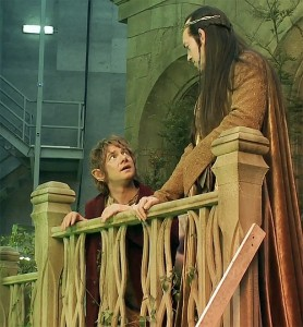 "Film: una scena da ""The Hobbit"": Bilbo ed Elrond"