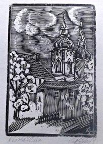 Kostely - tisk z dřevorytu