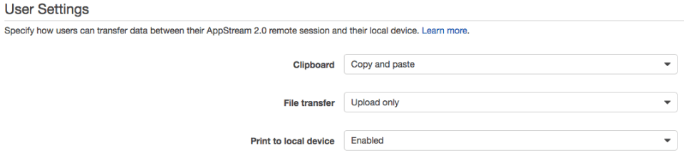 control clipboard, file transfer and print options for AWS AppStream 2.0