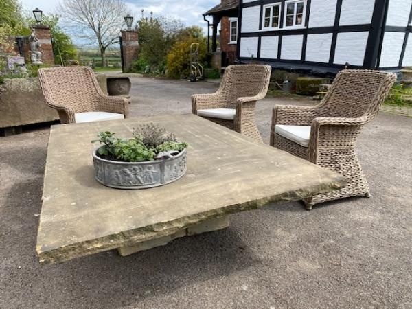 large york stone low patio table with central stone pedestal stk no 3881